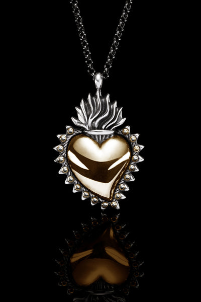 Ugo Cacciatori, Gold, Jewelry, 9kt Gold + Sterling Silver, Pendant, Gold + SIlver, Black Diamonds, Brown Diamonds