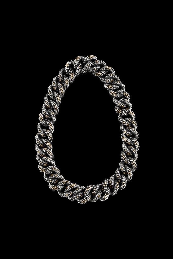 Ugo Cacciatori, Gold, Jewelry, 9kt Gold + Sterling Silver, Necklace, Gold + SIlver, Black Diamonds, Brown Diamonds