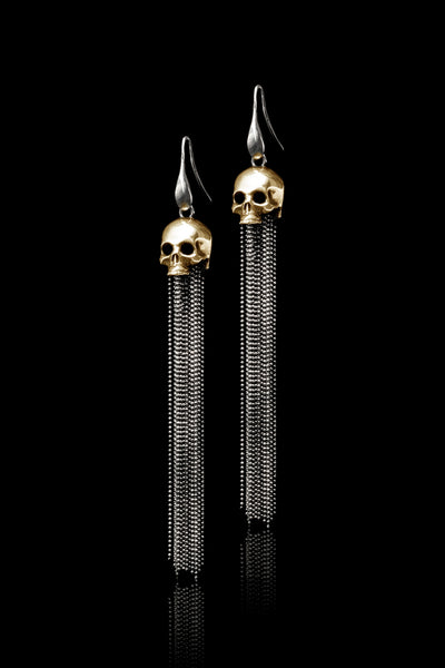 Ugo Cacciatori, Gold, Jewelry, 9kt Gold + Sterling Silver, Earrings, Gold + SIlver, Black Diamonds, Brown Diamonds