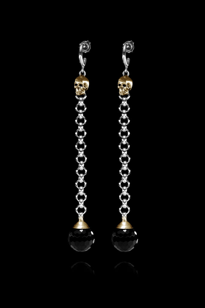 Ugo Cacciatori, Gold, Jewelry, 9kt Gold + Sterling Silver, Earrings, Onyx, Onyx and Black Diamonds, Onyx and Brown Diamonds