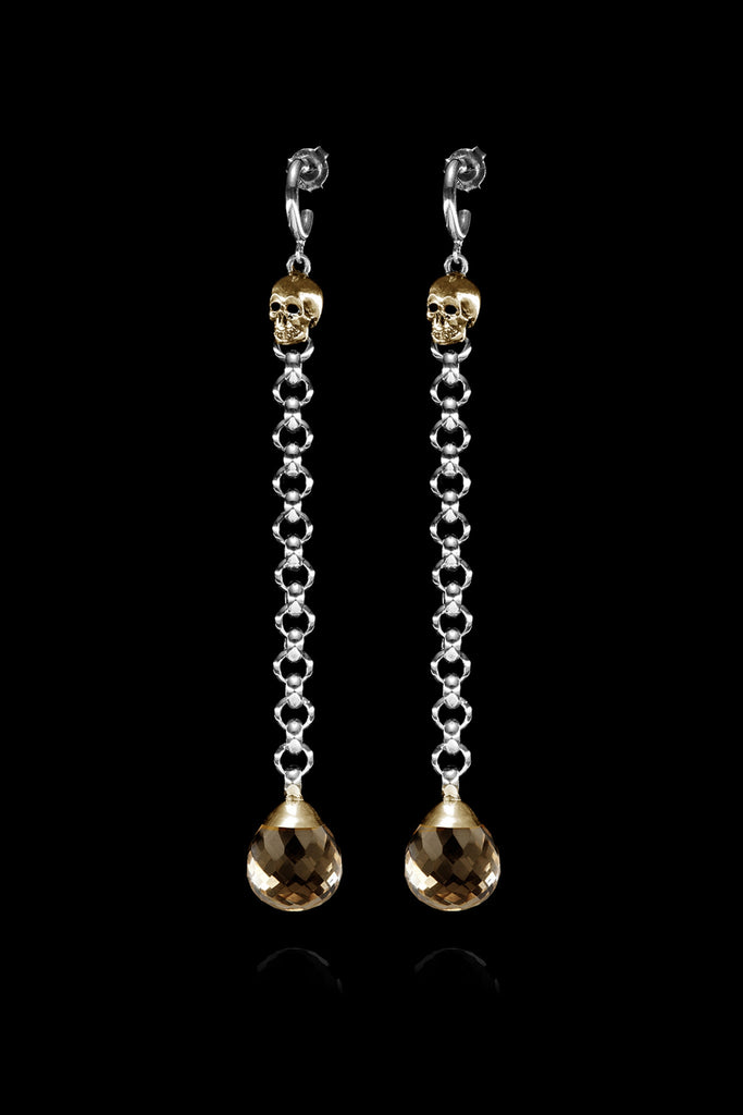 Ugo Cacciatori, Gold, Jewelry, 9kt Gold + Sterling Silver, Earrings, Smoky Quartz, Smoky Quartz and Black Diamonds, Smoky Quartz and Brown Diamonds