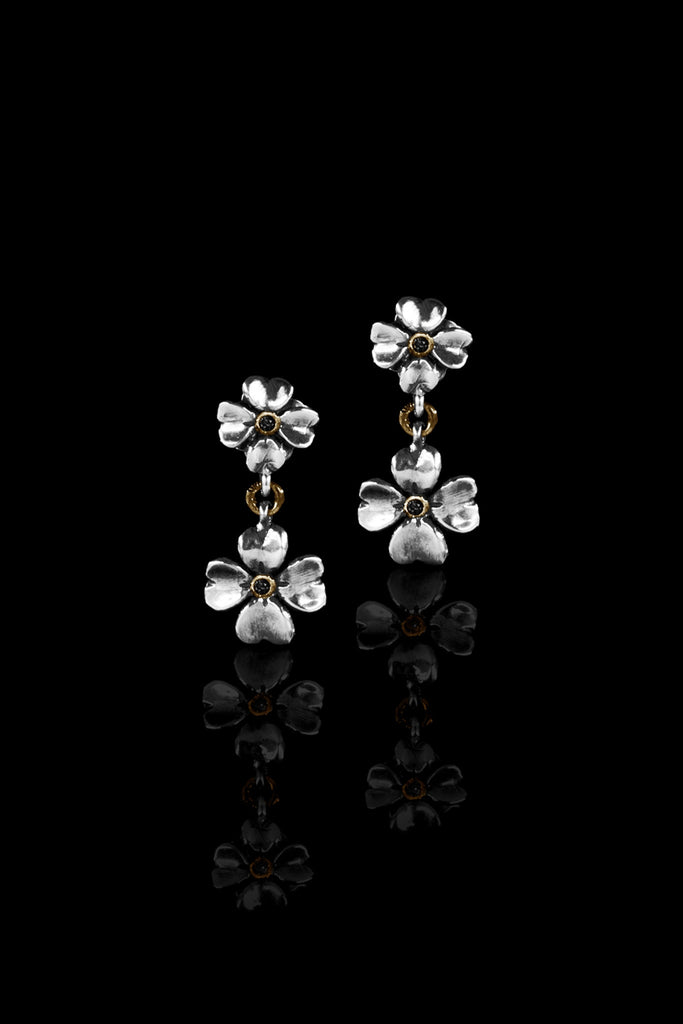 Ugo Cacciatori, Gold, Jewelry, 9kt Gold + Sterling Silver, Earrings, Black Diamonds, Brown Diamonds