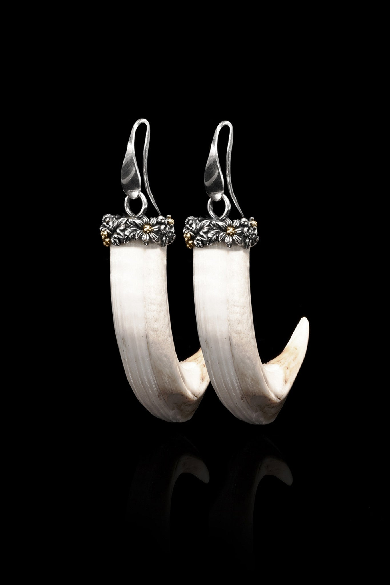 Ugo Cacciatori, Gold, Jewelry, 9kt Gold + Sterling Silver, Earrings, Wild Boar Tusk