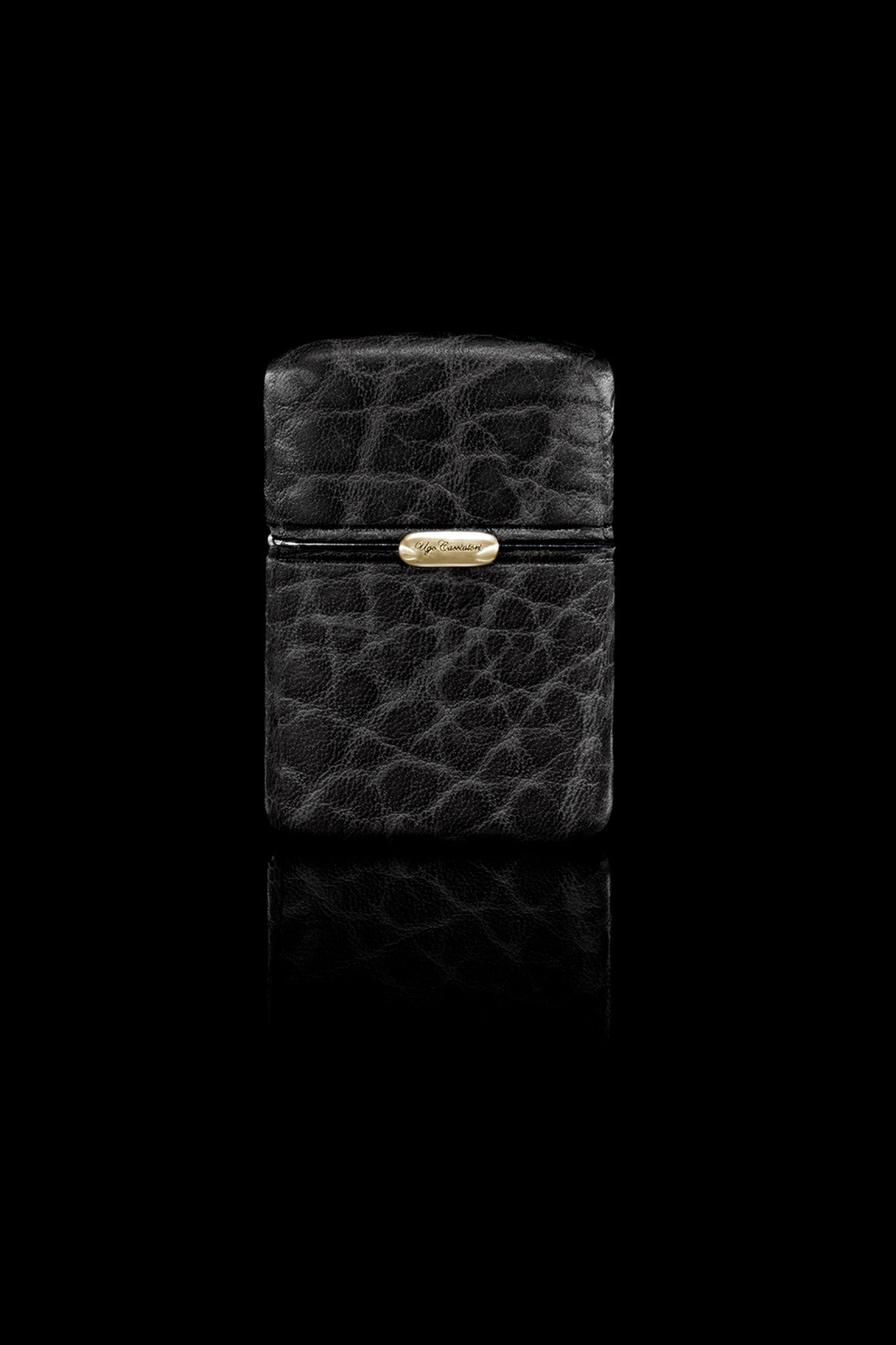 Ugo Cacciatori, Gold, Accessories, 9kt Gold + Sterling Silver +Leather, Lighter, Black Wrinkled Leather, Brown Wrinkled Leather
