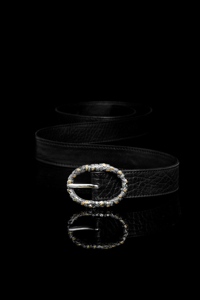 Ugo Cacciatori, Gold, Accessories, 9kt Gold + Sterling Silver + Leather, Belt, Black Wrinkled Leather