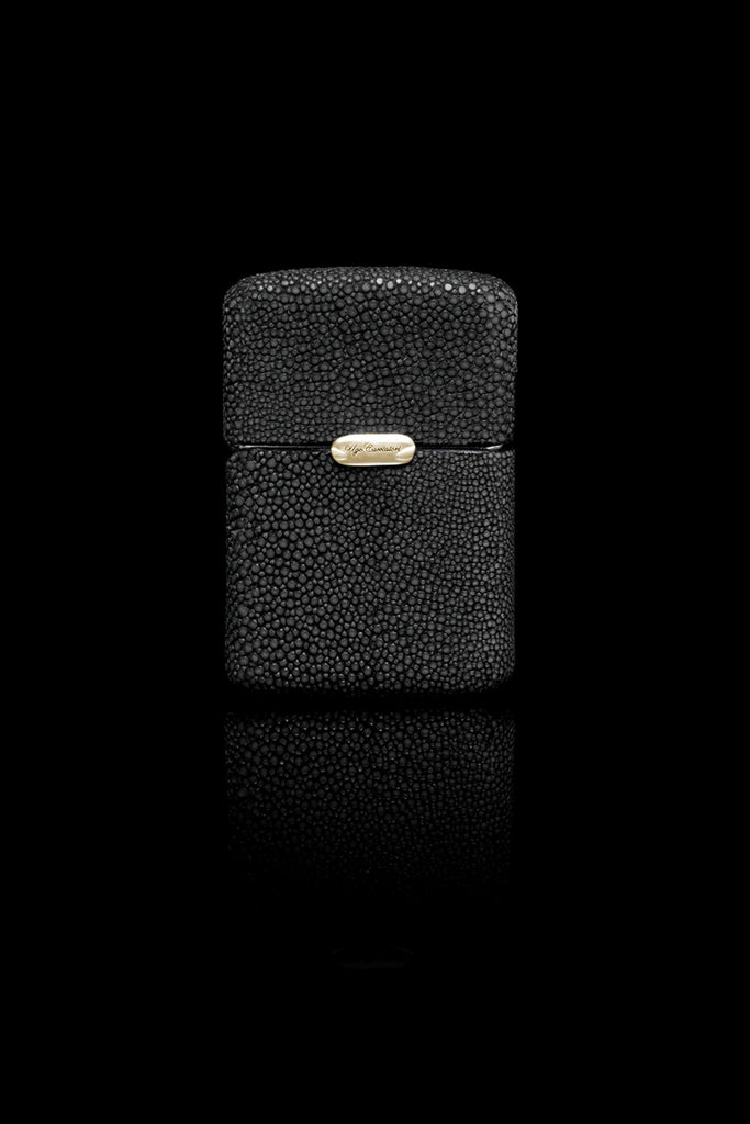 Ugo Cacciatori, Gold, Accessories, 9kt Gold + Sterling Silver + Leather, Lighter, Black Stingray, Brown Stingray