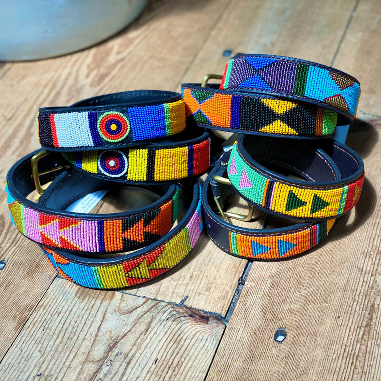 "The Kenyan Collection 1 1/4"" beaded belts"