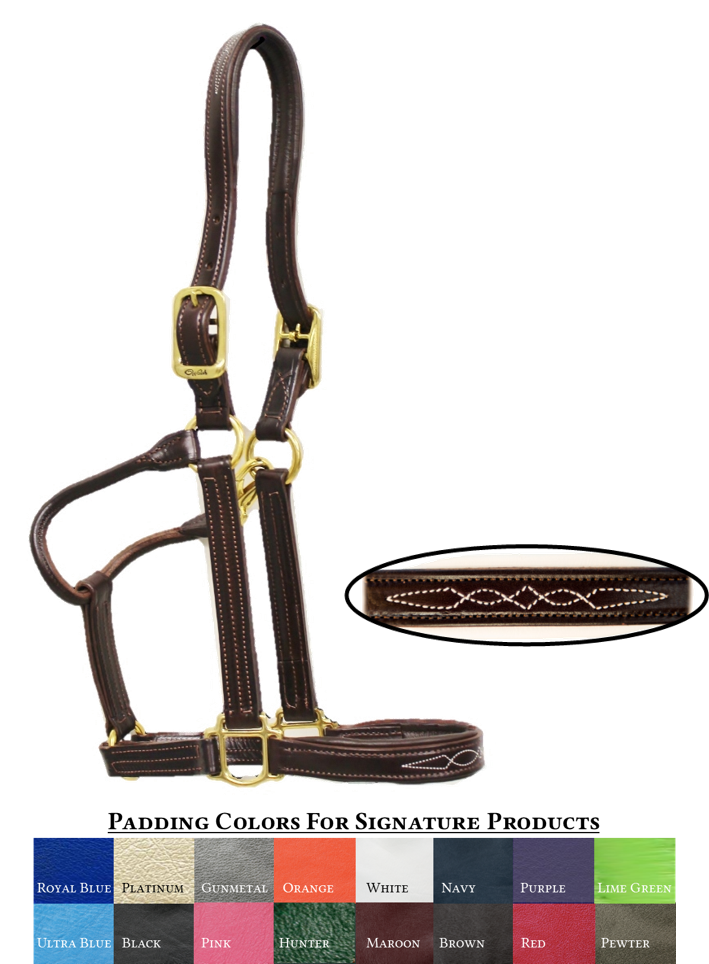 Signature Padded Halter with Fancy Stitching