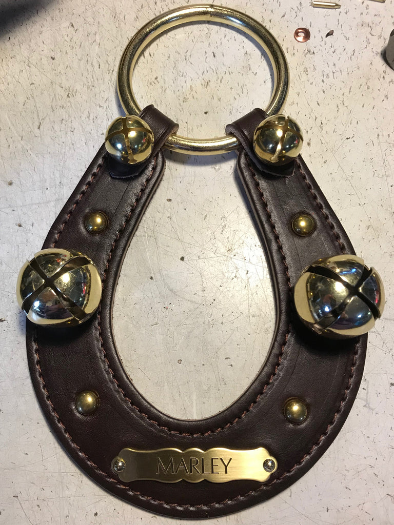 Leather Horseshoe with Brass Bells and Engraved Plate