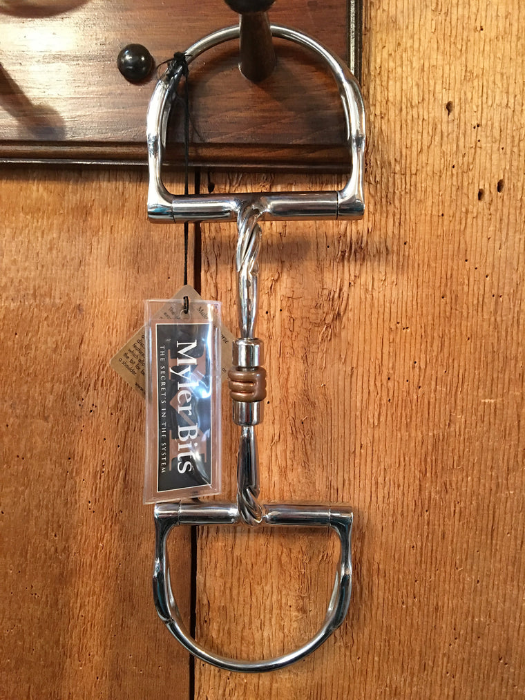 Myler Stainless Steel Dee With Hooks, Twisted Snaffle, and Copper Roller