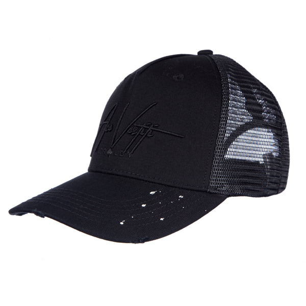 All Black Distressed Signature Paint Splatt Trucker
