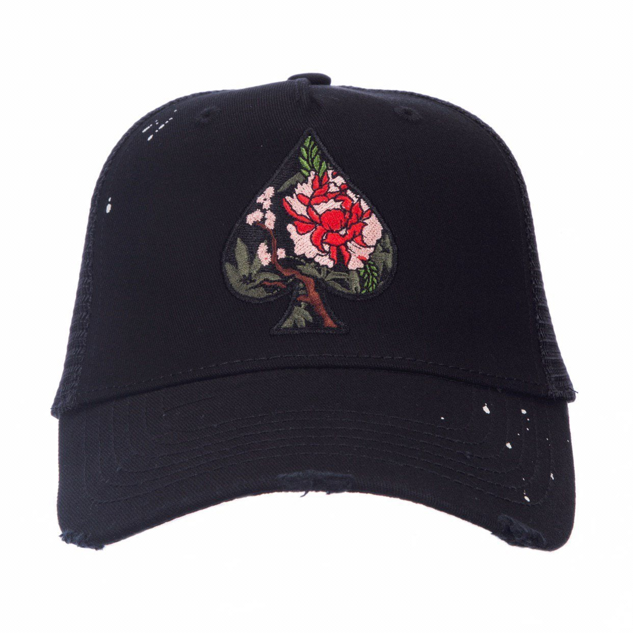 Ace Blossom Black Distressed Trucker - ACE VESTITI