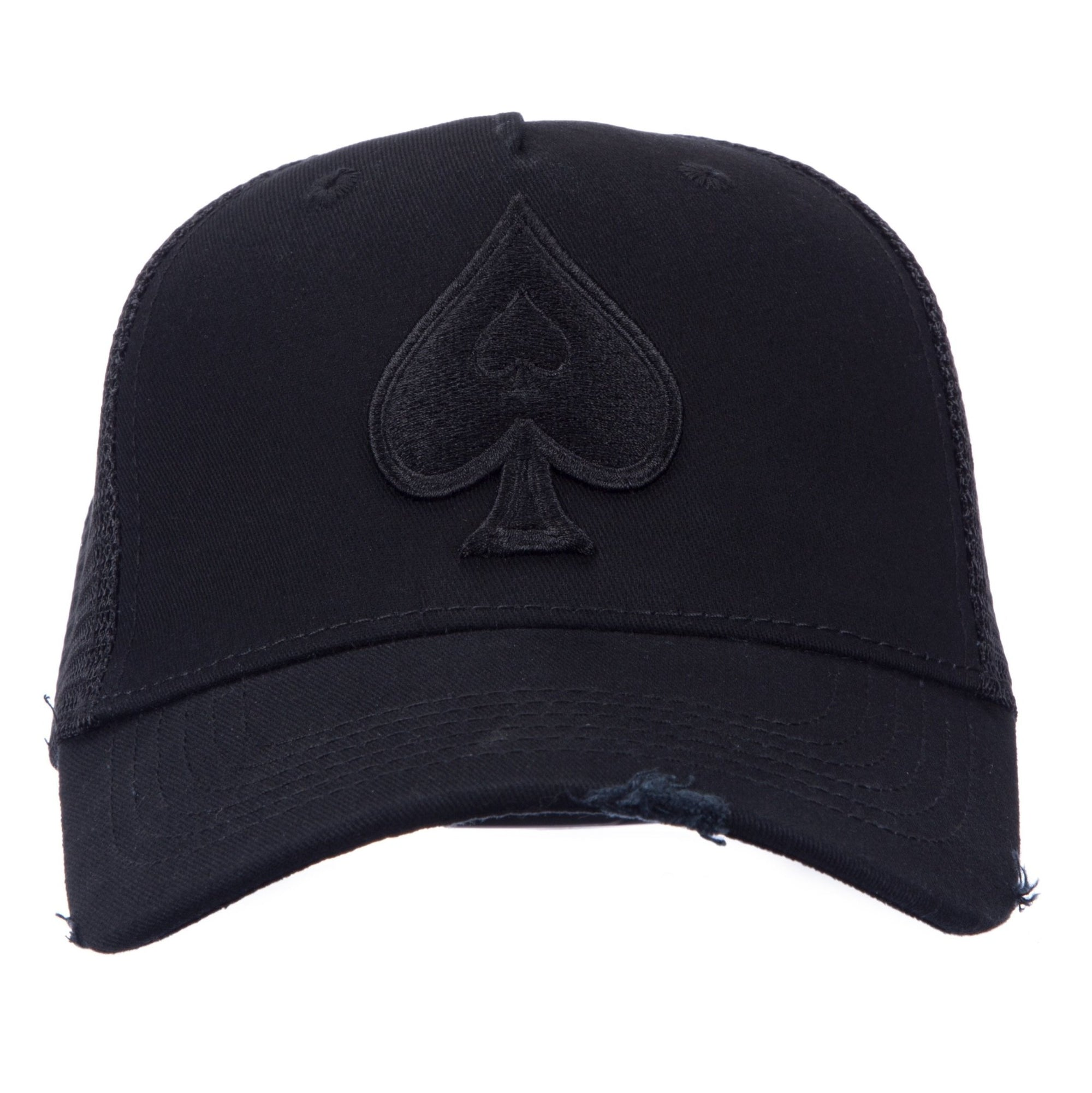 Distressed Black Trucker with Black Spades - ACE VESTITI