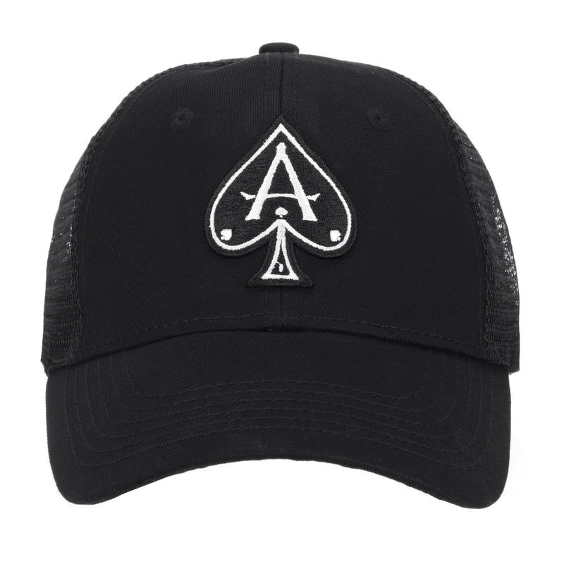 Headwear - Black Trucker With Black/White Ace