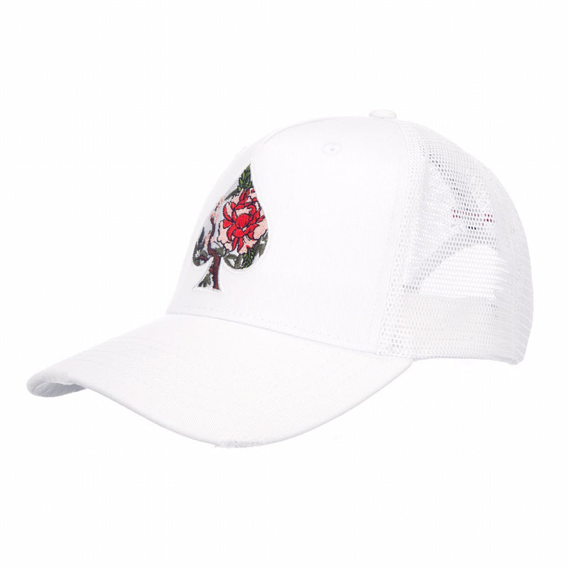 Ace Blossom White Distressed Trucker