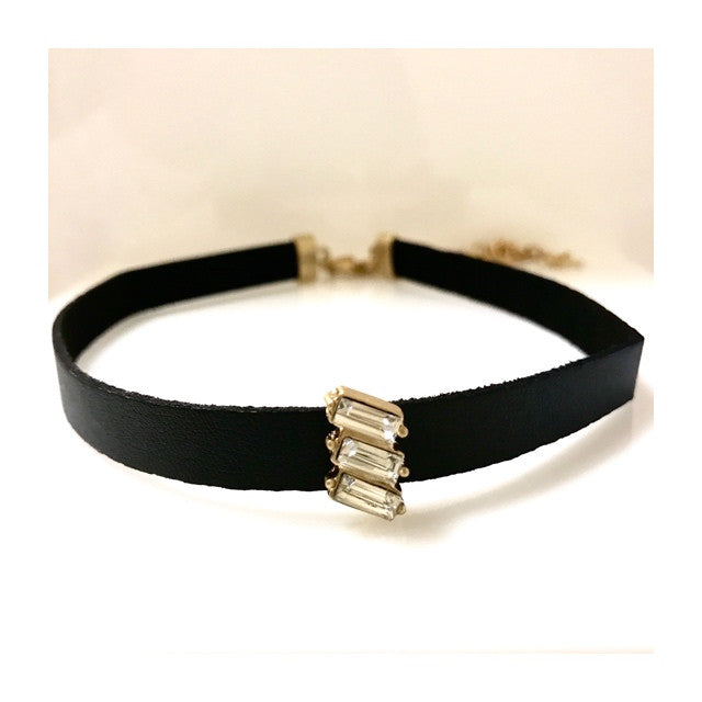 Leather Choker with 3-Stone Baguette