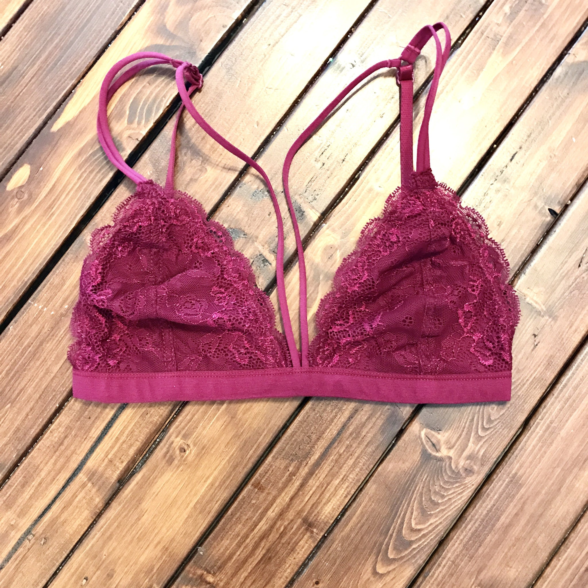 Burgundy Strappy Lace Bralette