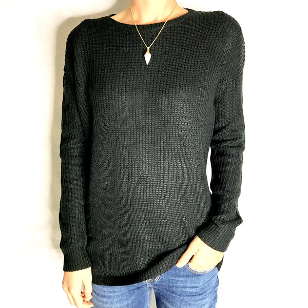 Long Line Sweater - Black