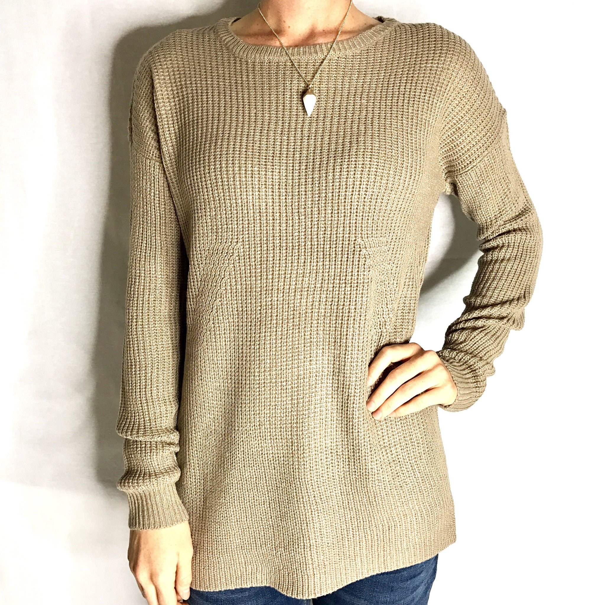 Long Line Sweater - Taupe