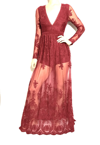 Hibiscus Dress - Wine