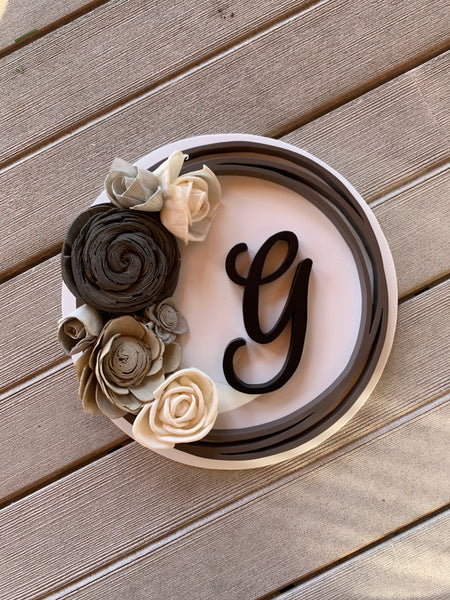 Round Family Initial Sign with Wood Flowers
