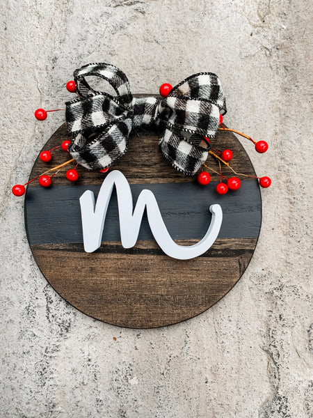 Small Buffalo Plaid Monogram Round