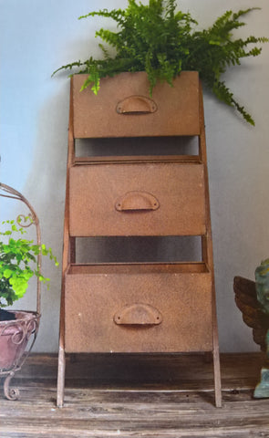 industrial rusty galvanised garden planter
