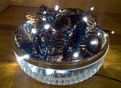pinecones bowl lights christmas decor