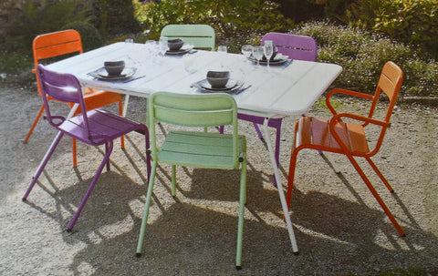 coloured aluminium patio table chairs