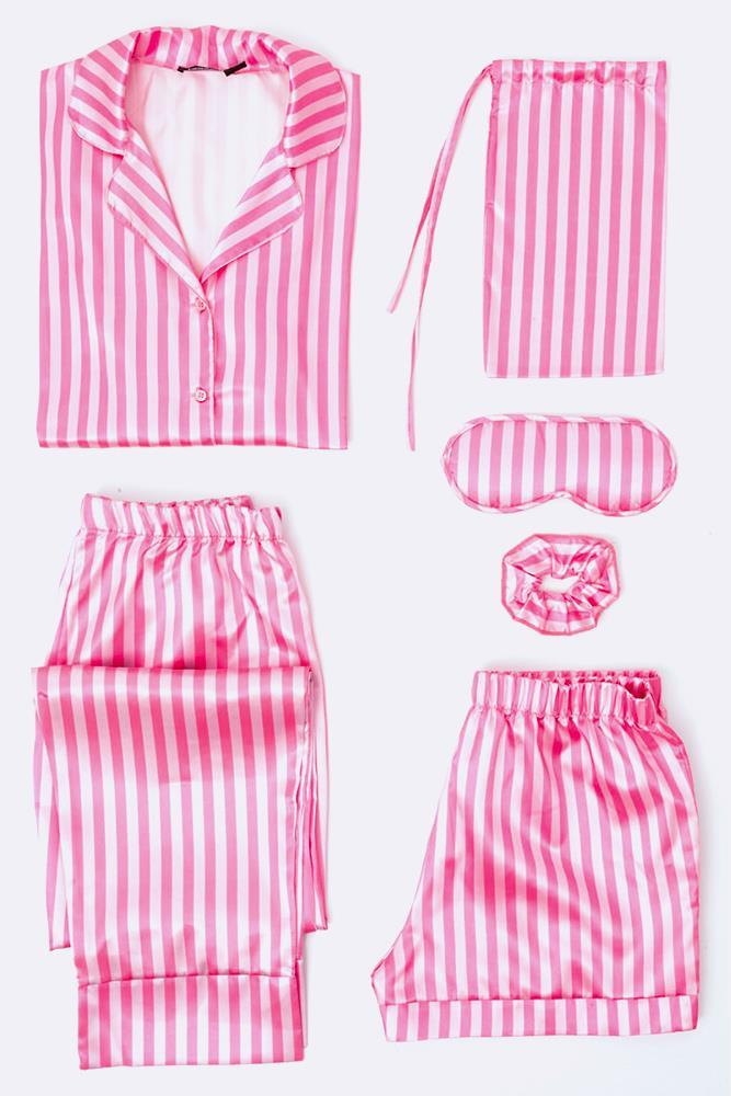 Satin Candy Stripe PJ Set
