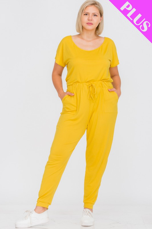 PLUS SIIZE Short Sleeve Drawstring Jumpsuit (MUSTARD)
