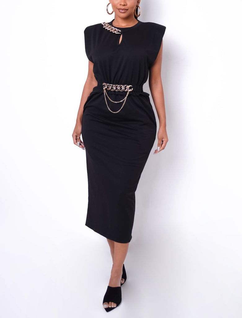 Link Up Midi Dress (BLACK)
