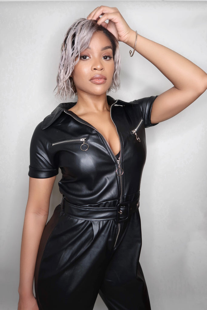 Halle Leather Jumpsuit (BLACK)-jumpsuit-Jouvert Joli