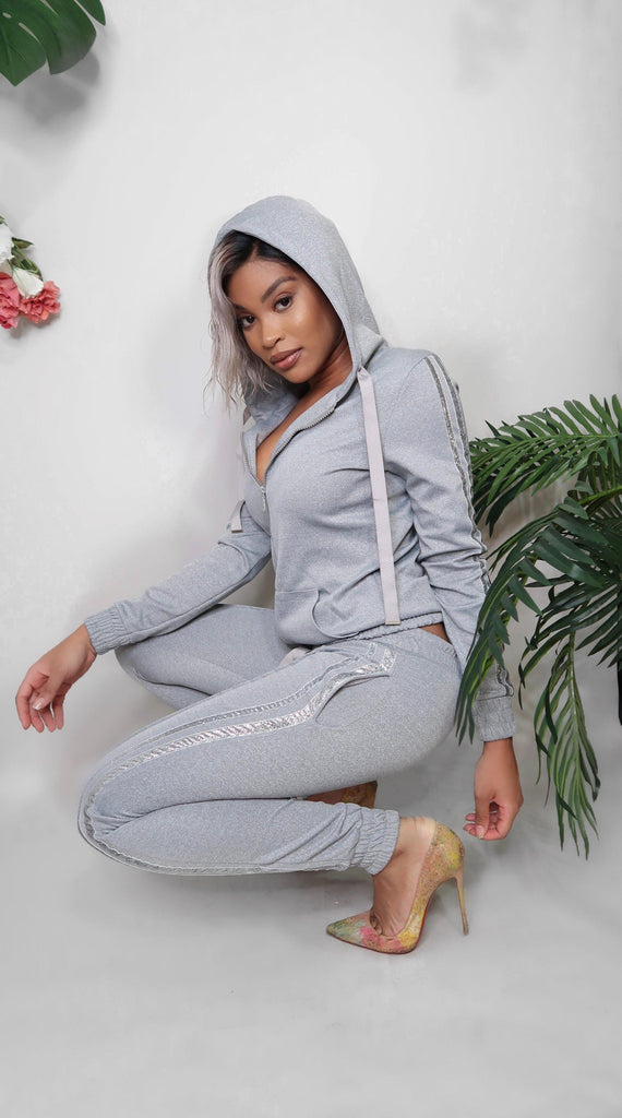 Claire Sequin Hooded Tracksuit-Matching Sets-Jouvert Joli