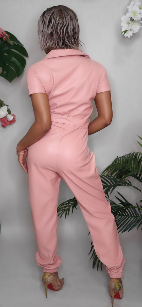 Halle Leather Jumpsuit (PINK)-jumpsuit-Jouvert Joli