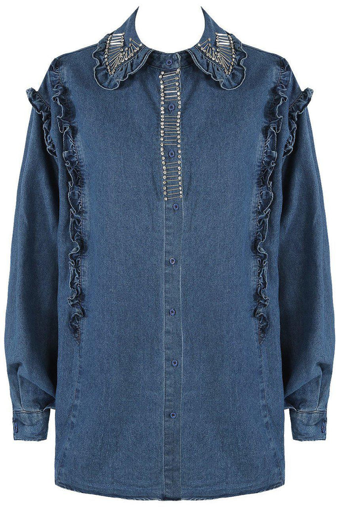 DIAMANTE DENIM SHIRT