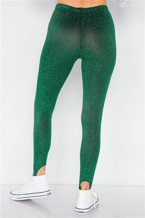 Shimmy Shimmer Leggings (Green)-leggings-Jouvert Joli
