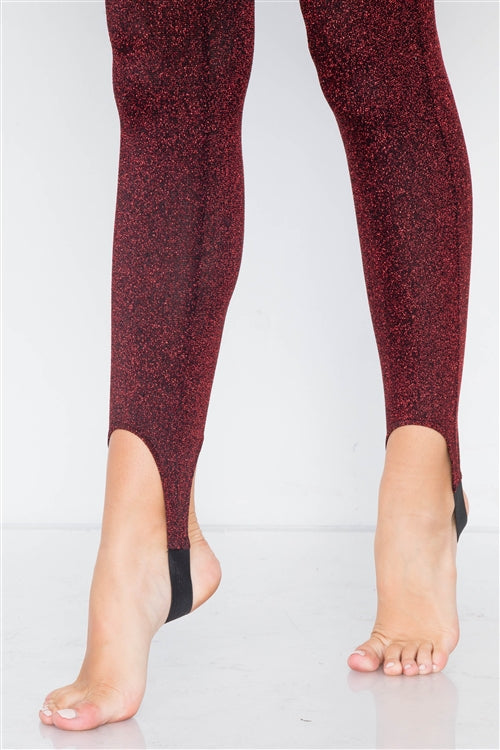Shimmy Shimmer Leggings (Red)-leggings-Jouvert Joli