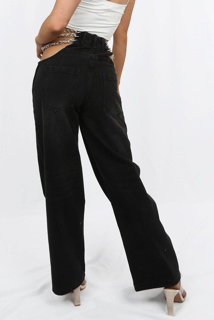 SIDE CHAINED DENIM JEANS (BLACK)