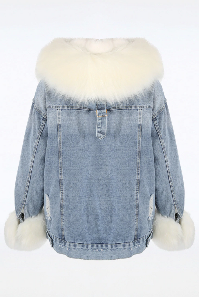LUXE FUR LINED HOODED DENIM JACKET