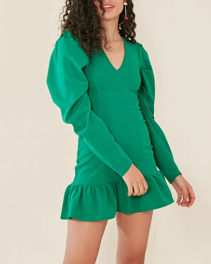 Emerald Empress Frill Hem Dress-dresses-Jouvert Joli