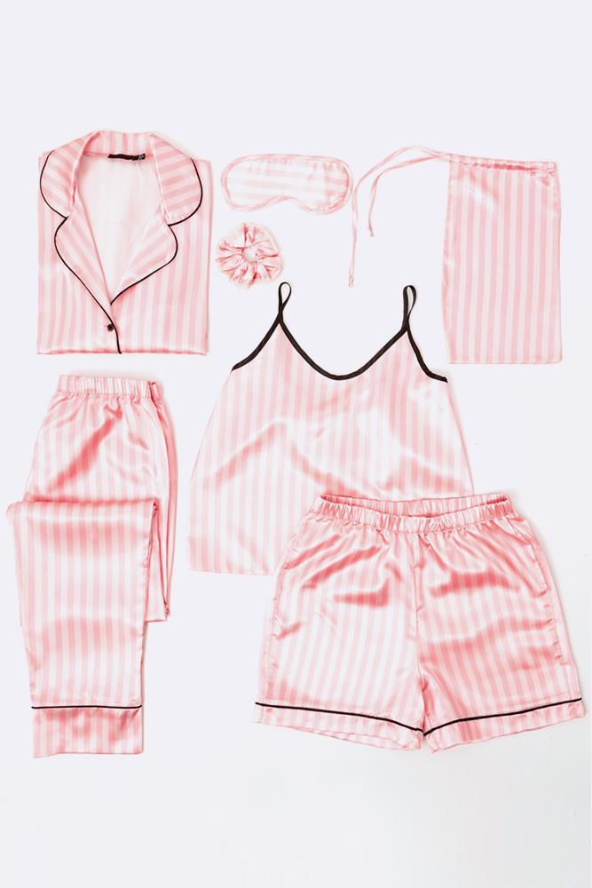 Satin Cotton Candy Stripe PJ Set