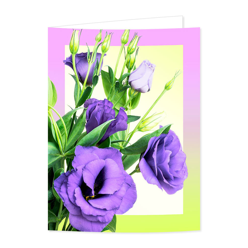 Purple Lisianthus Flowers Greetings Card With White Envelope For