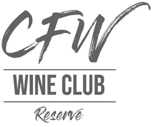 Gray, stacked logo that includes the following text: CFW, Wine Club, Reserve.