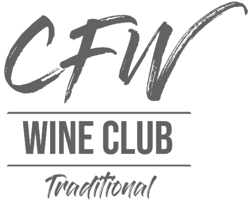 Gray, stacked logo that includes the following text: CFW, Wine Club, Traditional.