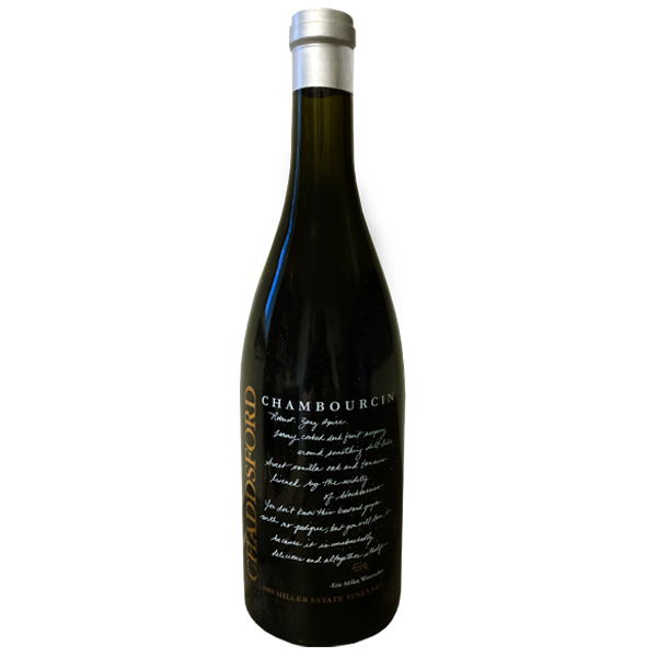 750ml bottle of Chaddsford's 2005 Chambourcin with silver wax