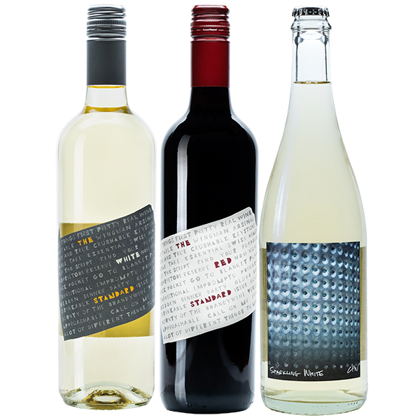 3-Pack of wine includes The White Standard, The Red Standard, and Sparkling White