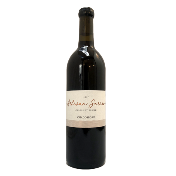 750ml bottle of Chaddsford's 2017 Cabernet Franc with black wax