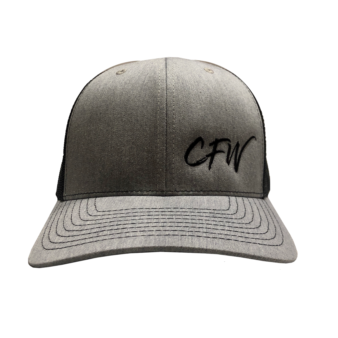 Front of gray CFW trucker cap. Gray front panels with CFW embrodied on the right panel in black.