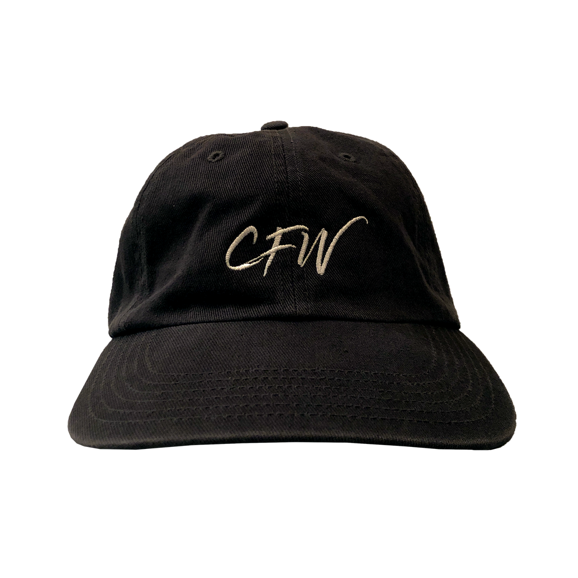 Gray, cotton baseball cap with white CFW letters embrodied on the center panel.